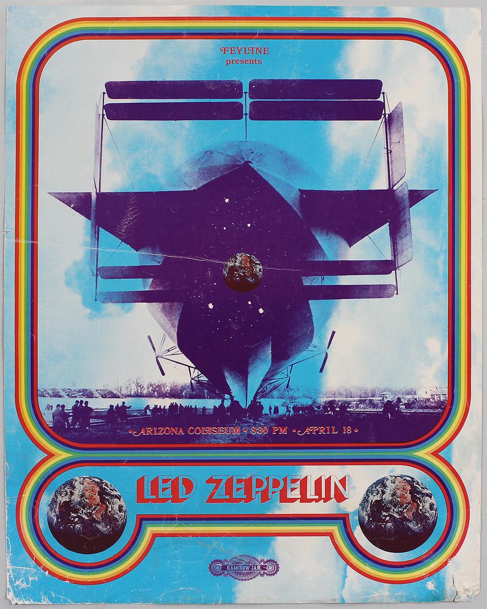 lot detail led zeppelin original 1970 concert poster. Black Bedroom Furniture Sets. Home Design Ideas