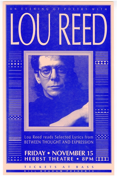 Lou Reed Original Poetry Reading Concert Poster