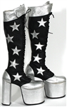 KISS Paul Stanley Stage Worn High Silver Star Platform Boots