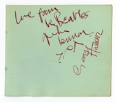 John Lennon and George Harrison Signed Autograph Album Page Authenticated by Frank Caiazzo