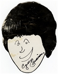 George Harrison Original 1965 Hand-Drawn and Signed Picture From Tour Plane Landing In New York