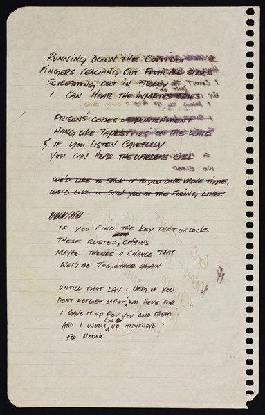 Guns N Roses Slash Handwritten Lyrics