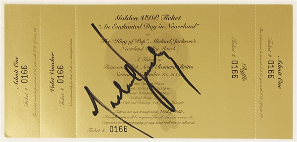 "Michael Jackson Signed Original ""Enchanted Day In Neverland"" Golden Ticket"
