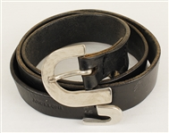Michael Jackson Owned & Worn Black Leather Belt with Silver Buckle