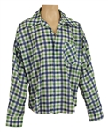 Elvis Presley Owned and Worn Blue and Green Checked Shirt