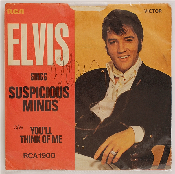 "Elvis Presley Signed & Inscribed ""Suspicious Minds"" 45 Record Sleeve"