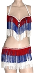 Britney Spears Stage Worn Red White and Blue Fringed Bra Top and Shorts with Rhinestones