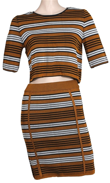 Beyoncé  Owned & Worn Copper Brown, Black and White Two-Piece Outfit