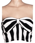 Miley Cyrus Owned & Worn Black and White Striped Tube Top with Bow