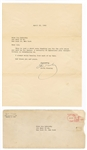 Elvis Presley Original 1965 Secretarial Signed Typed Letter to a Fan with Post-Dated Envelope