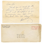 Elvis Presley Original 1960 Secretarial Signed and Handwritten Letter to a Fan with Post-Dated Envelope