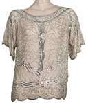Liza Minnelli Owned & Worn Sheer Off-White Top With Silver Beading and Sequins