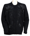 Liza Minnelli Owned & Worn Black Beaded and Sequined Cardigan Sweater