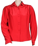 Liza Minnelli Owned & Worn Silky Red Long-Sleeved Blouse