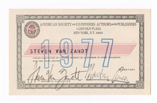 Steven Van Zandt Signed Personally Owned 1977 ASCAP Card