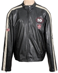 Rod Stewart Stage Worn and Owned Black Leather Red Squad Racing Jacket