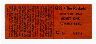 KISS Original 1978 Buffalo Stadium Concert Ticket Stub