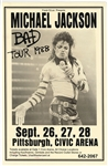 Michael Jackson Original 1988 Bad Tour Pittsburgh Civic Arena Concert Poster Signed by Poster Artist