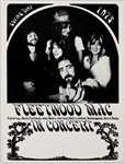 Fleetwood Mac Original 1975 Spring Tour Concert Poster with New Line-Up Featuring Stevie Nicks and Lindsay Buckingham