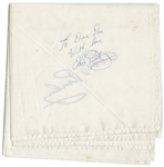 Elvis Presley Signed & Inscribed Stage Worn White Scarf