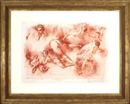 "LeRoy Neiman Signed Original ""XVIIIth Century Nudes after Boucher and Fragonard"" Unique, One-Of-A-Kind, Red Chalk Drawing"