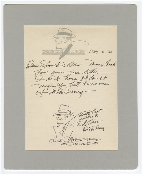 Chester Gould Handwritten Letter Signed With Sketch JSA LOA