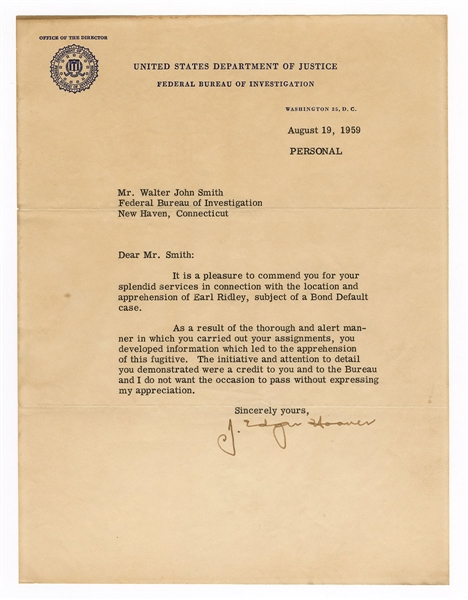 J. Edgar Hoover Typewritten Letter Signed JSA Authentication