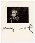 Andy Warhol Signed Board with Photo JSA LOA