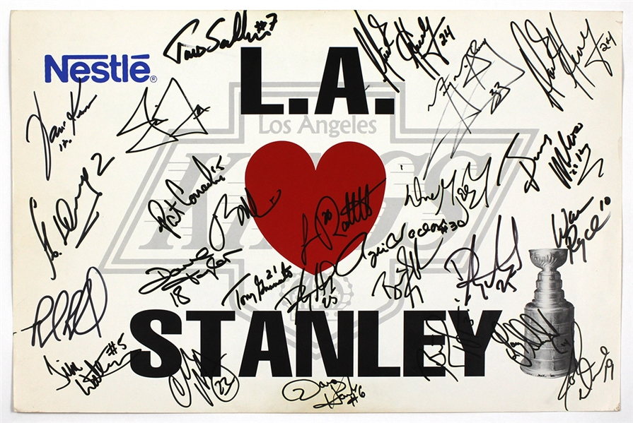 L.A. Kings Team Signed Stanley Cup Poster (Wayne Gretzky) JSA Guarantee