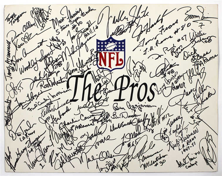 "NFL ""The Pros"" Signed Incredible Poster 30+ Signatures (Dick Butkus, Merlin Olsen, Marcus Allen, Warren Moon) JSA Guarantee"