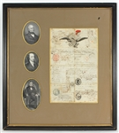 John Quincy Adams and Albert Gallatin Signed Passport Belonging to Historian William H. Prescott JSA LOA