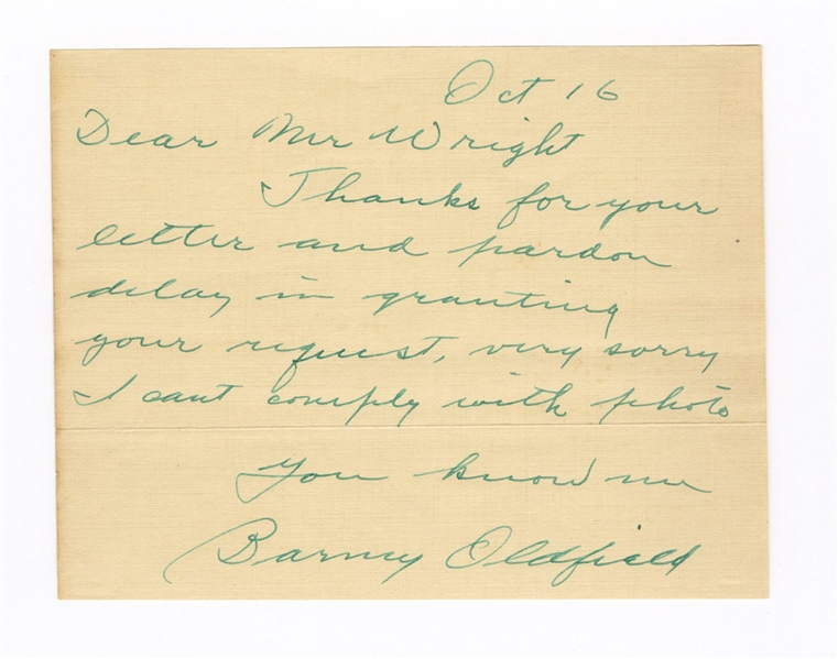 Barney Oldfield Exceptional Signed Note JSA LOA