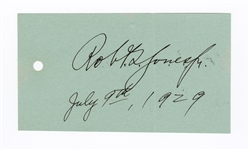 "Bobby Jones 1929 Exceptional Signed Cut ""Robert T. Jones Jr.""  JSA LOA"