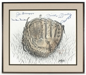Mickey Mantle, Joe DiMaggio, Willie Mays, Duke Snider Signed Numbered Lithograph JSA Guarantee