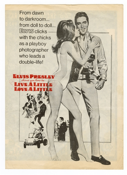 "Elvis Presley Original ""Live A Little, Love A Little"" Promotional Movie Flyer"