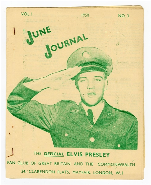 "Elvis Presley 1958 Official Great Britain Fan Club Magazine ""June Journal"""