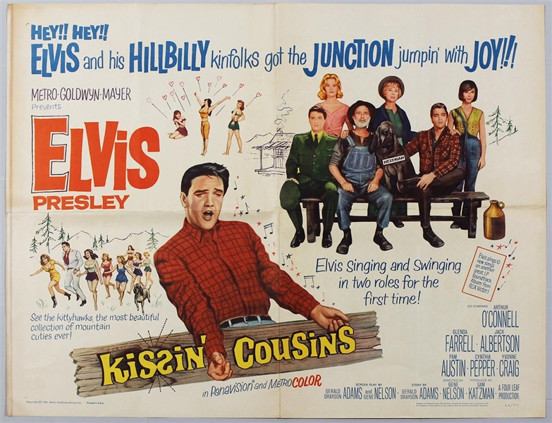 "Elvis Presley Original ""Kissin Cousins"" Half Sheet Movie Poster"