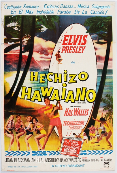 "Elvis Presley Original Mexican ""Blue Hawaii"" Movie Poster"