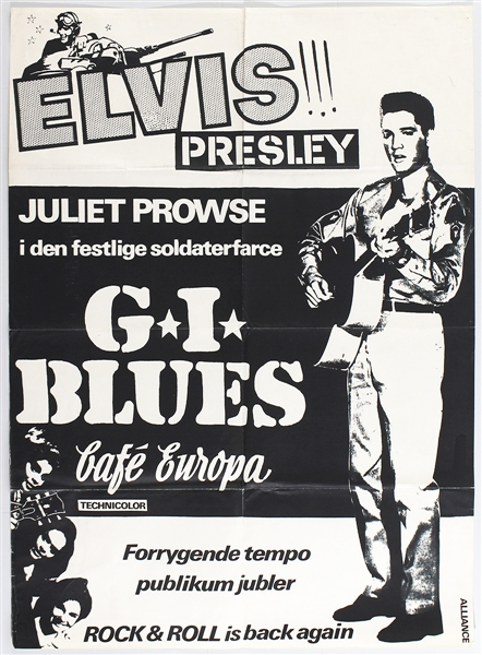 "Elvis Presley Original Danish ""G.I. Blues"" Movie Poster"