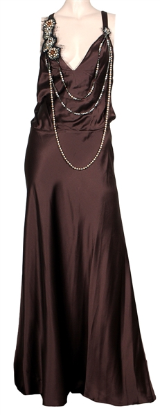 Sarah Michelle Gellar 2005 CFDA Fashion Awards Worn Custom Max Azria Atelier Brown Silk Gown