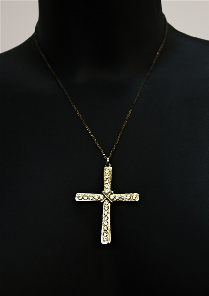 Spice Girl Victoria Beckham Spiceworld Tour, Video Worn and Owned Custom Cross Pendant Necklace