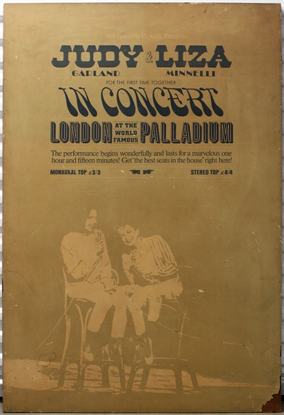 Judy Garland & Liza Minnelli Original Over-Sized London Palladium Wooden Concert Poster