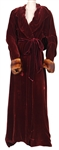 "Lady Gaga: The Countess ""American Horror Story: Hotel"" Screen Worn Wine Velvet and Fur Robe"