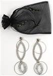"Lady Gaga "" Jazz and Piano"" Stage Worn Laruicci Large Dangling Silver and Rhinestone Costume Earrings"