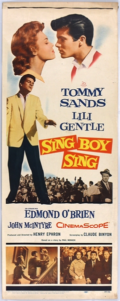 "Tommy Sands & Lili Gentle ""Sing Boy Sing"" Original Insert Movie Poster"