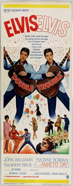 "Elvis Presley ""Double Trouble"" Original Insert Movie Poster"