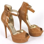 Prince Sheila E Owned, Worn and Signed Tan Leather Peek-A-Boo Stiletto Shoes