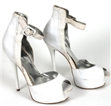 Prince Sheila E Owned, Worn and Signed White Leather Peek-A-Boo Stiletto Shoes