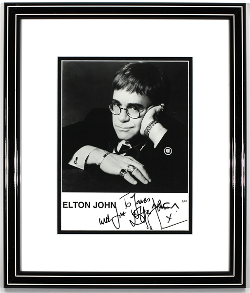 Elton John Signed & Inscribed Photograph