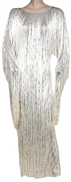 "Lady Gaga ""Frank Sinatra 100th Birthday Party All-Star Grammy Concert"" Worn Custom Silver Fringe Dress"